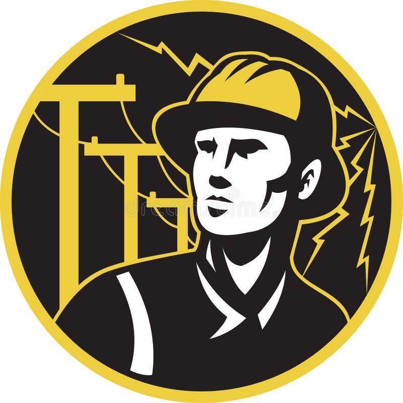 电工架线工杆次幂安装工 皇族释放例证