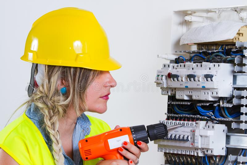电工电评定的工作 库存图片