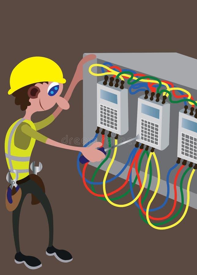 电工繁忙与他的工具 向量例证