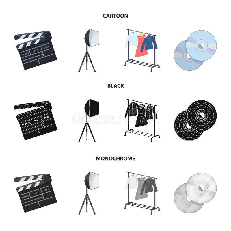 电影、圆盘和其他设备戏院的 做电影布景在动画片的汇集象,黑色,单色样式 库存例证