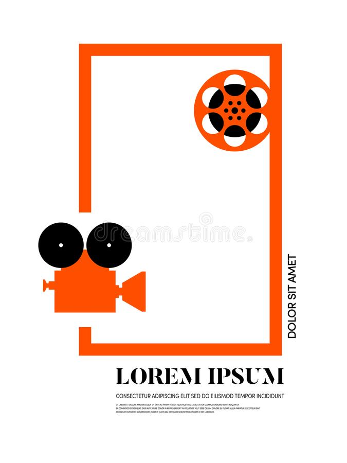 电影和影片现代减速火箭的葡萄酒海报背景 库存例证