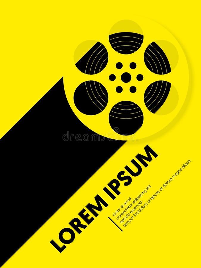 电影和影片现代减速火箭的葡萄酒海报背景 向量例证