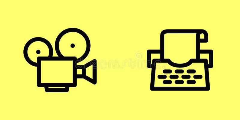 电影和打字机 免版税库存照片