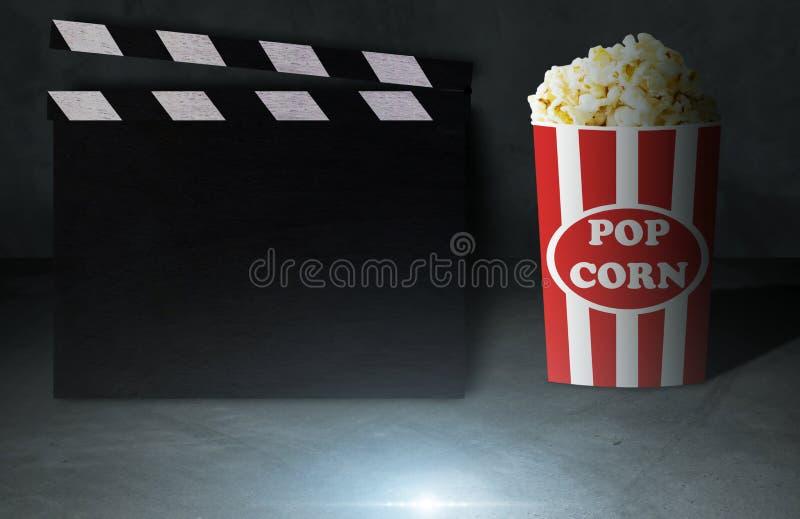 电影和玉米花概念 库存图片