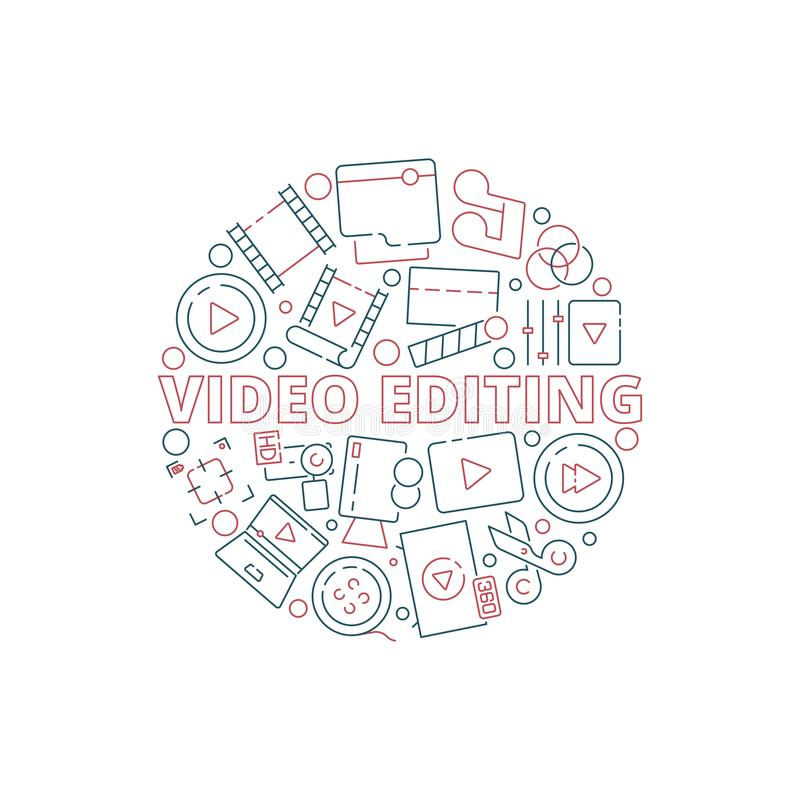 电影圈子背景 影片戏院在圆形电视设备多媒体概念性拍板的传染媒介的生产项目 皇族释放例证