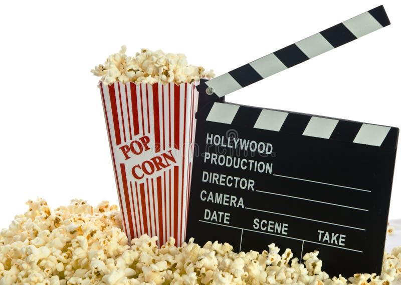 电影在玉米花的拍板 免版税图库摄影