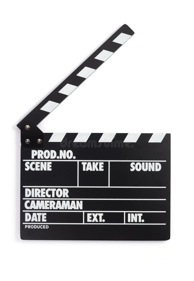 电影在白色背景的拍板 免版税图库摄影