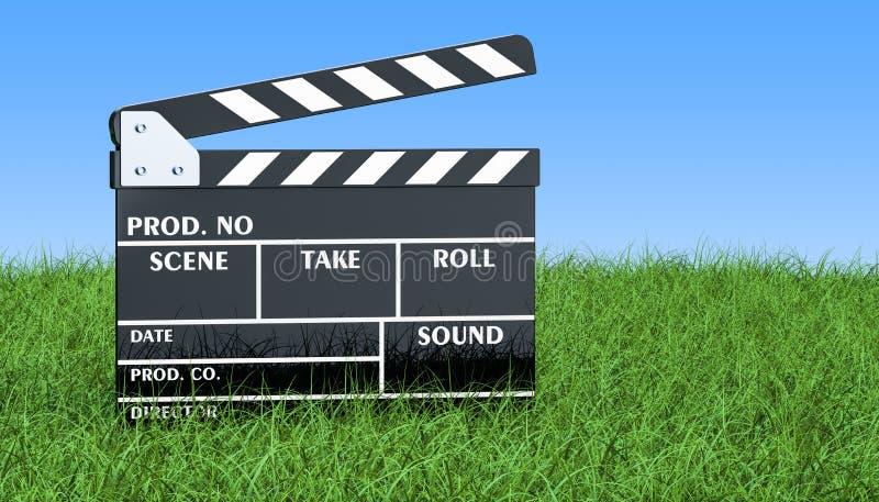 电影在绿草的拍板反对蓝天, 3D烈 向量例证