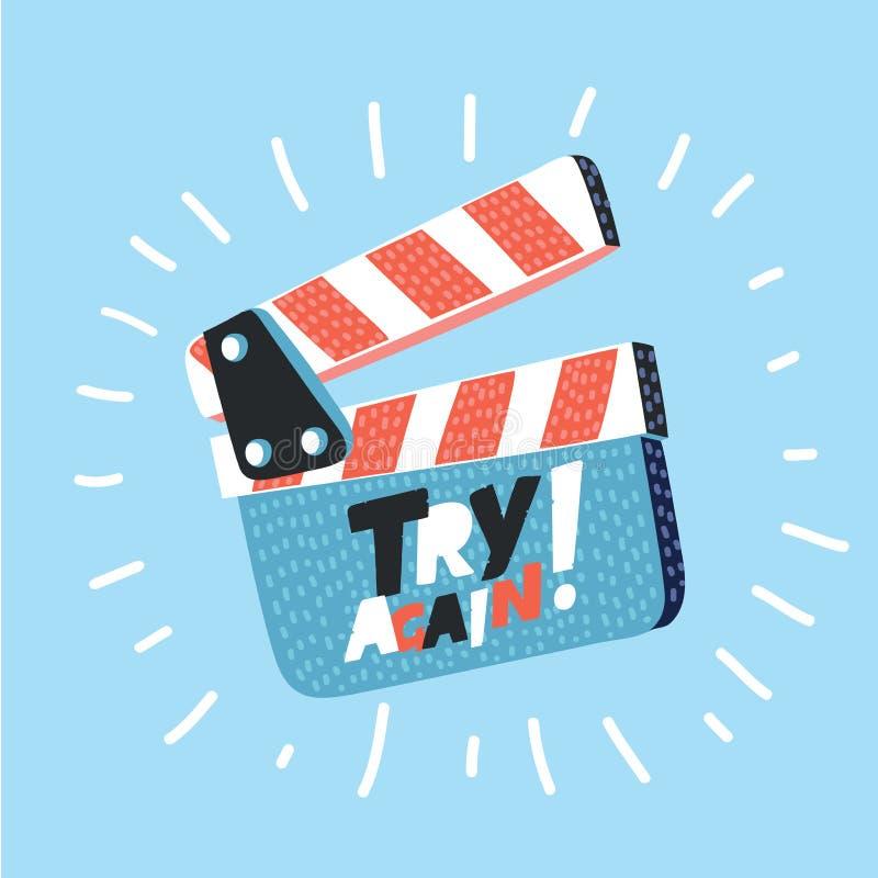 电影在背景隔绝的拍板 开放的clapperboard 库存例证