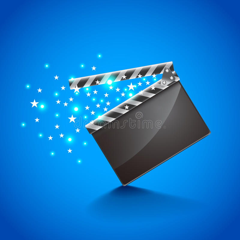 电影在蓝色背景传染媒介的拍板 皇族释放例证