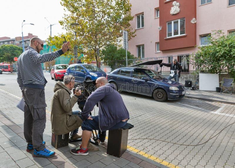 电影工作人员队摄制电影场面在布拉索夫,斯洛伐克 库存照片