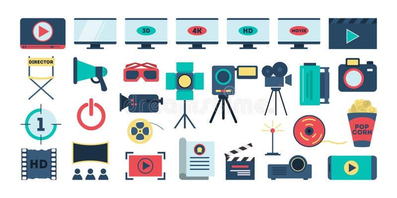 电影布景 设备的汇集影片射击的 向量例证