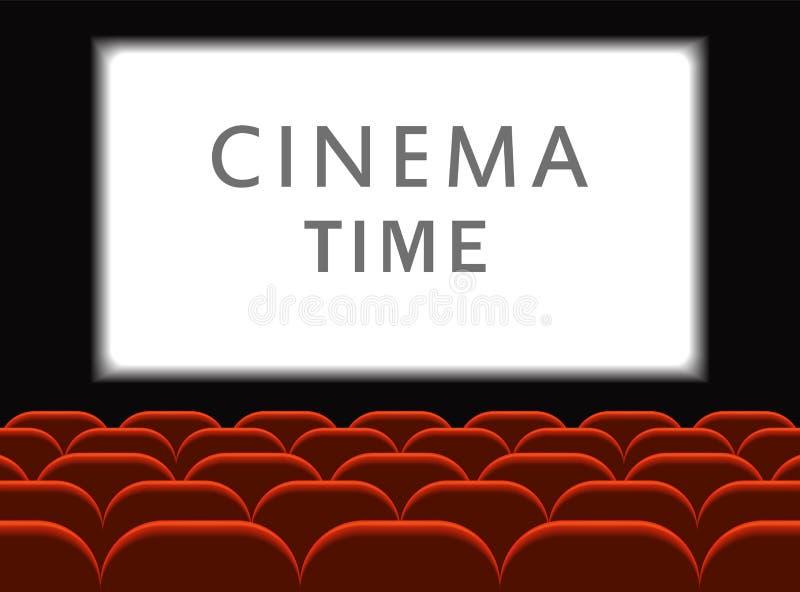 电影戏院 有位子的戏院大厅 首放与白色屏幕的海报设计 向量背景 库存例证