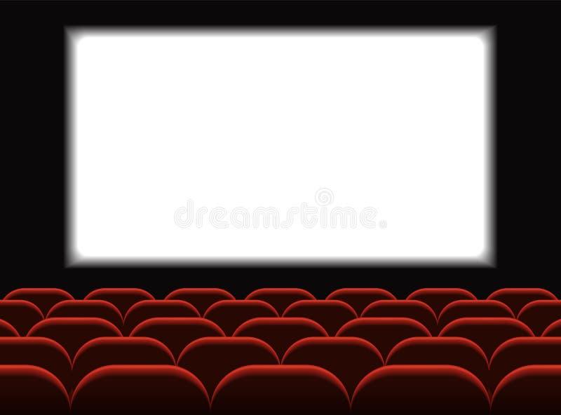 电影戏院 有位子的戏院大厅 首放与白色屏幕的海报设计 向量背景 向量例证