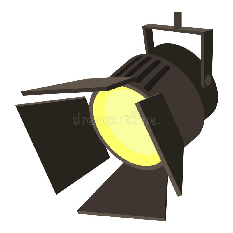 电影或剧院聚光灯象,动画片样式 向量例证