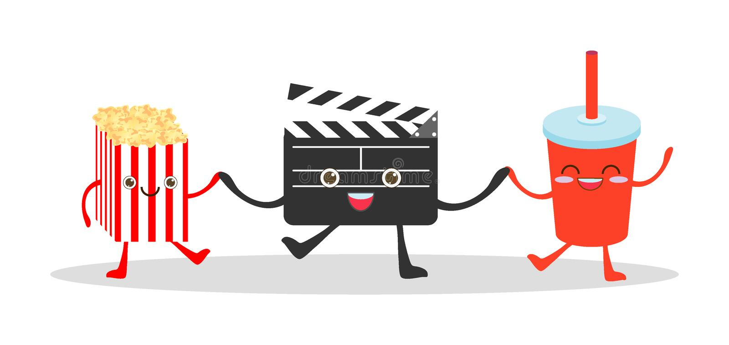 电影拍板和可乐和玉米花在白色背景,观看电影,戏院,电影,食物滑稽的传染媒介Illustrat的例证 向量例证