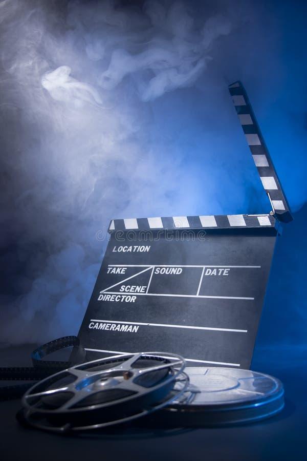 电影拍板和影片轴 库存照片