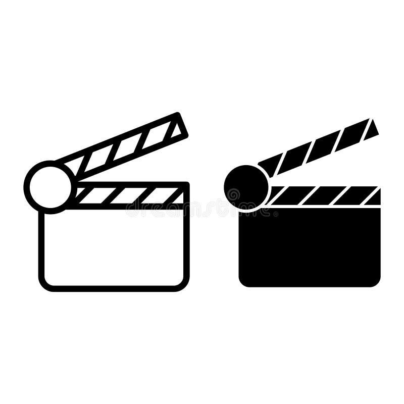 电影拍板线和纵的沟纹象 Clapperboard在白色隔绝的传染媒介例证 拍手委员会概述样式设计 向量例证
