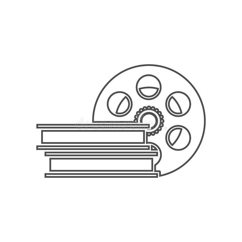 电影摄影术的磁带象 设置戏院元素象 r 标志和标志汇集象为 库存例证