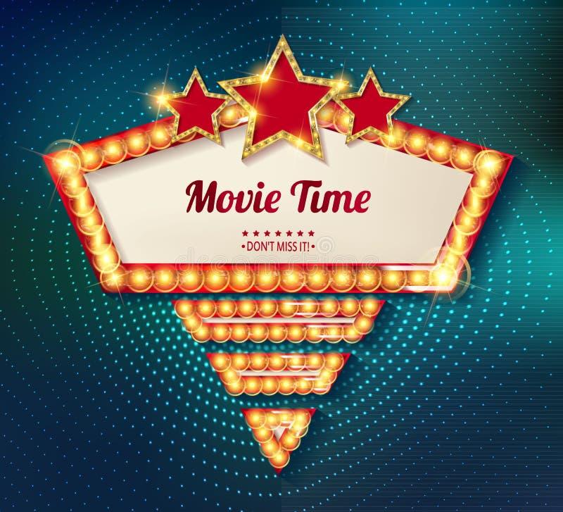 电影放映时间戏院首放海报设计 库存例证