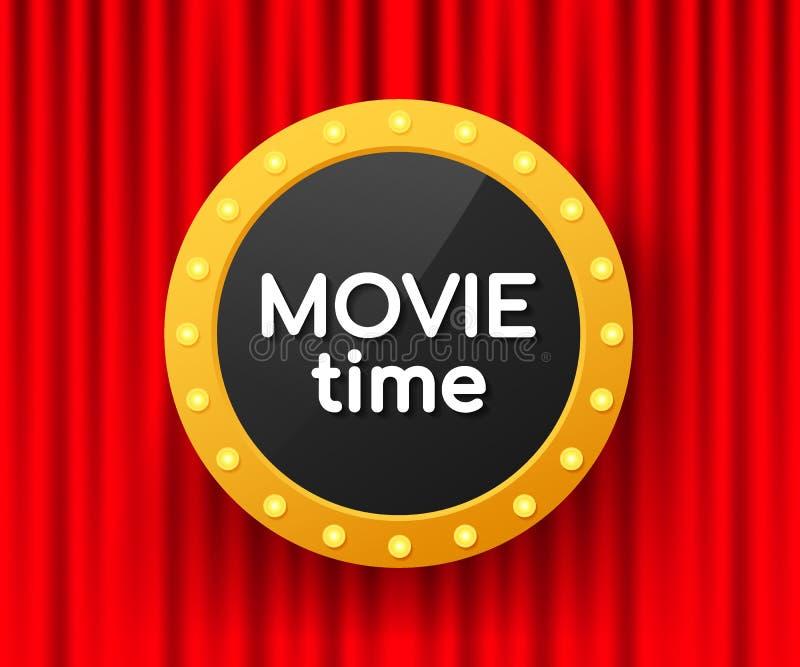 电影时间海报 戏院横幅 t 向量例证
