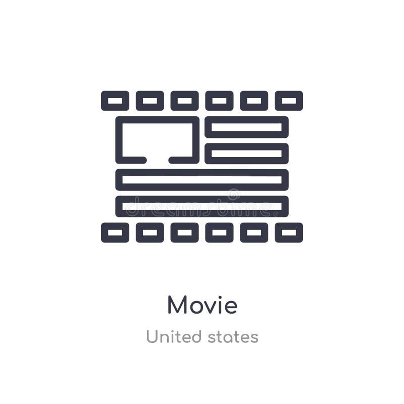 电影概述象 被隔绝的线从美国汇集的传染媒介例证 在白色的编辑可能的稀薄的冲程电影象 向量例证