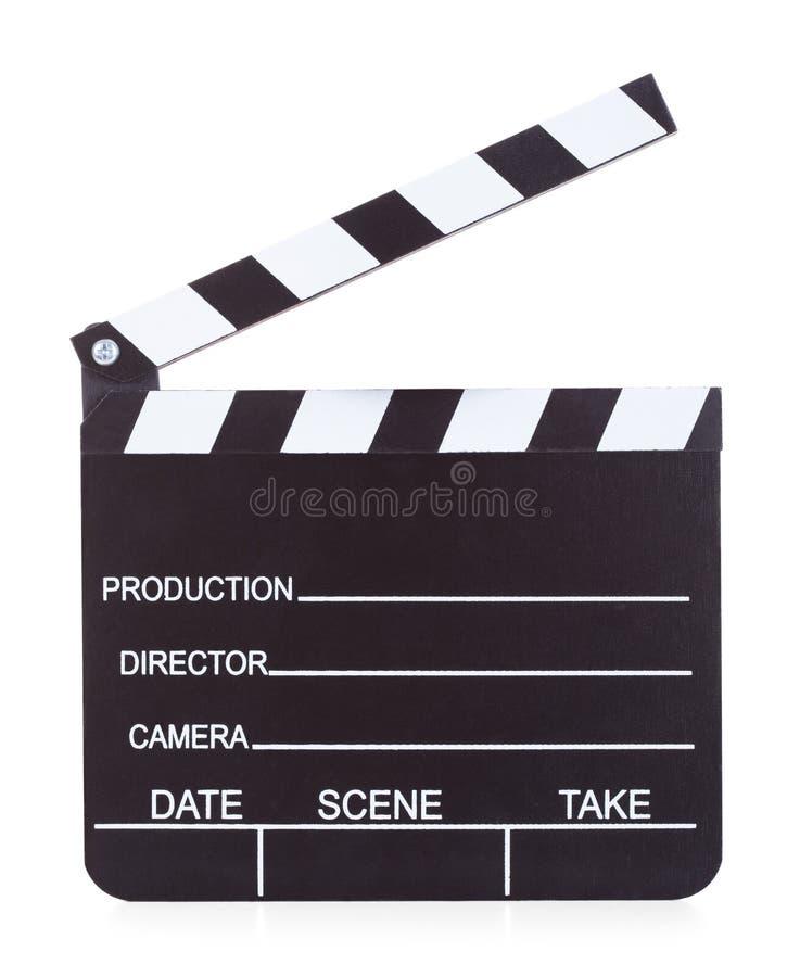 电影生产在白色背景的拍板 免版税图库摄影