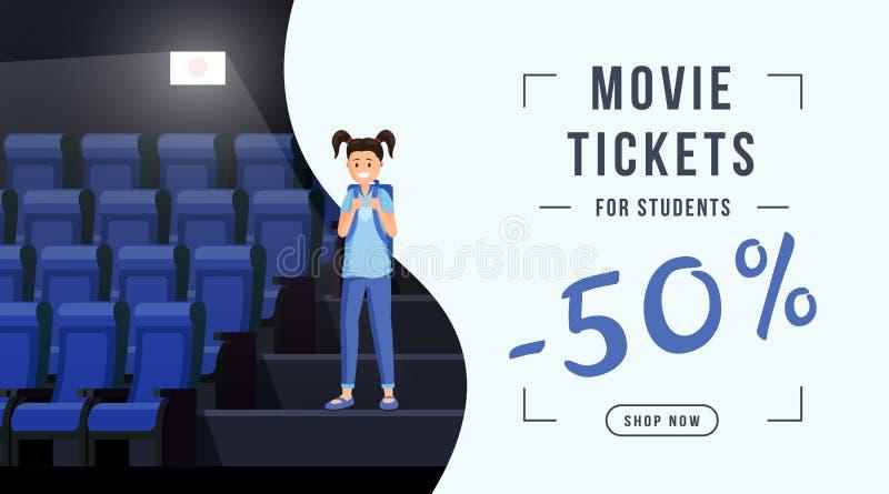 电影票销售网横幅模板 与50%票费用折扣的Schoolkid参观的戏院 电影院 皇族释放例证
