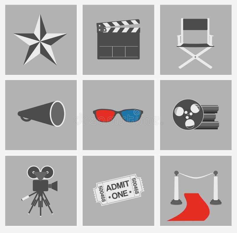 电影被设置的向量图标 戏院平的设计元素 向量例证