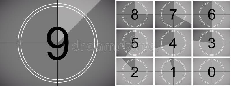 电影读秒减速火箭的传染媒介戏院屏幕 向量例证