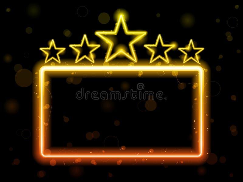 电影霓虹灯广告星形 向量例证