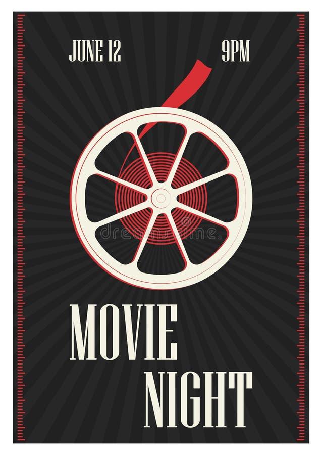 电影首放、戏院节日或者专业电影展示时间的海报或飞行物模板与减速火箭的影片 库存例证