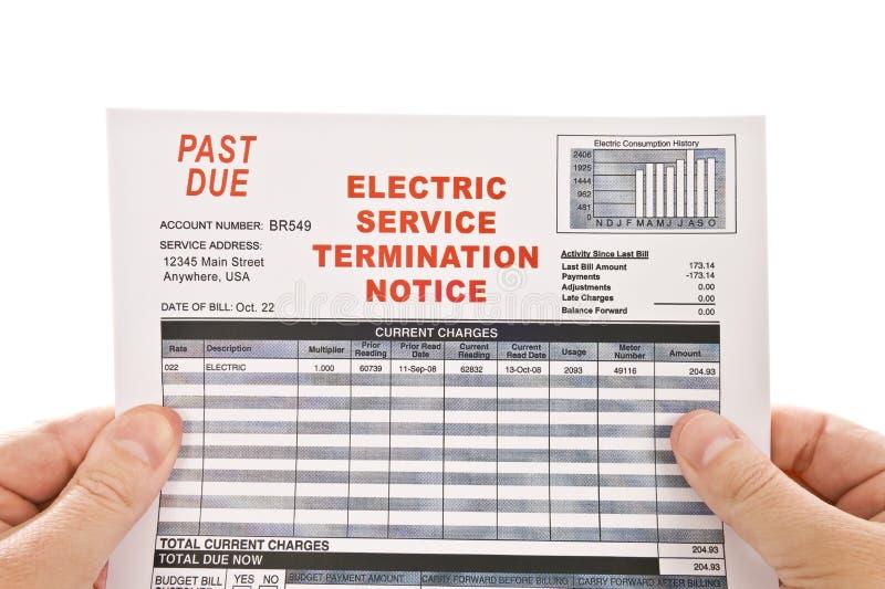电服务终止通知 免版税库存图片