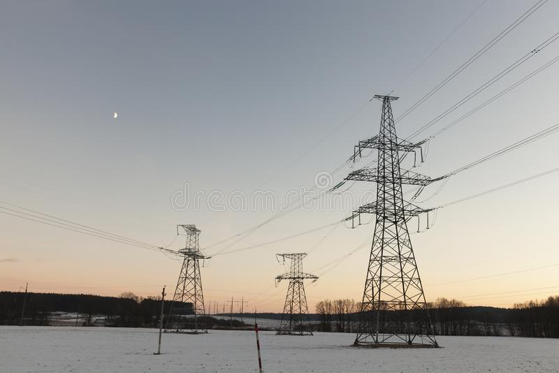 电杆,冬天 免版税库存照片