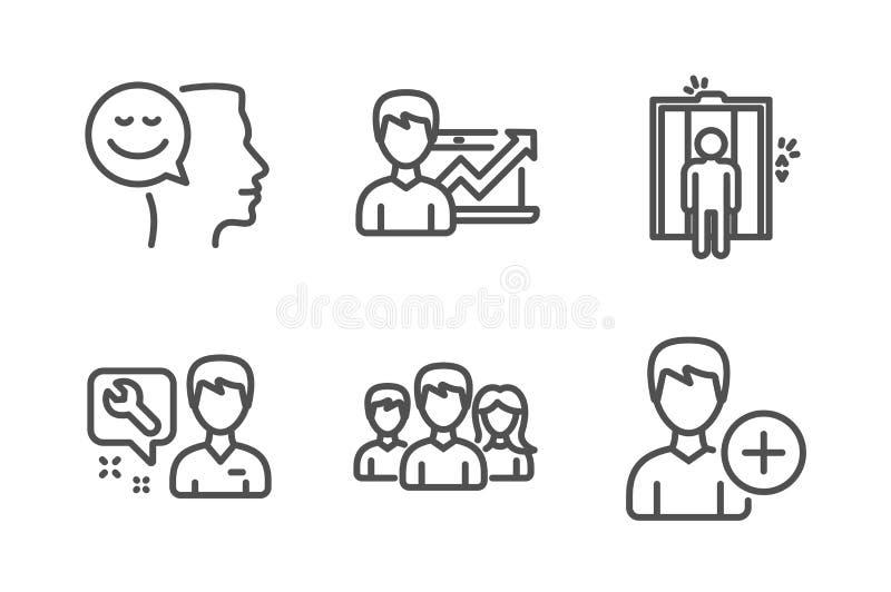 电梯、安装工和成功企业象集合 心情,配合和增加人标志 ?? 向量例证