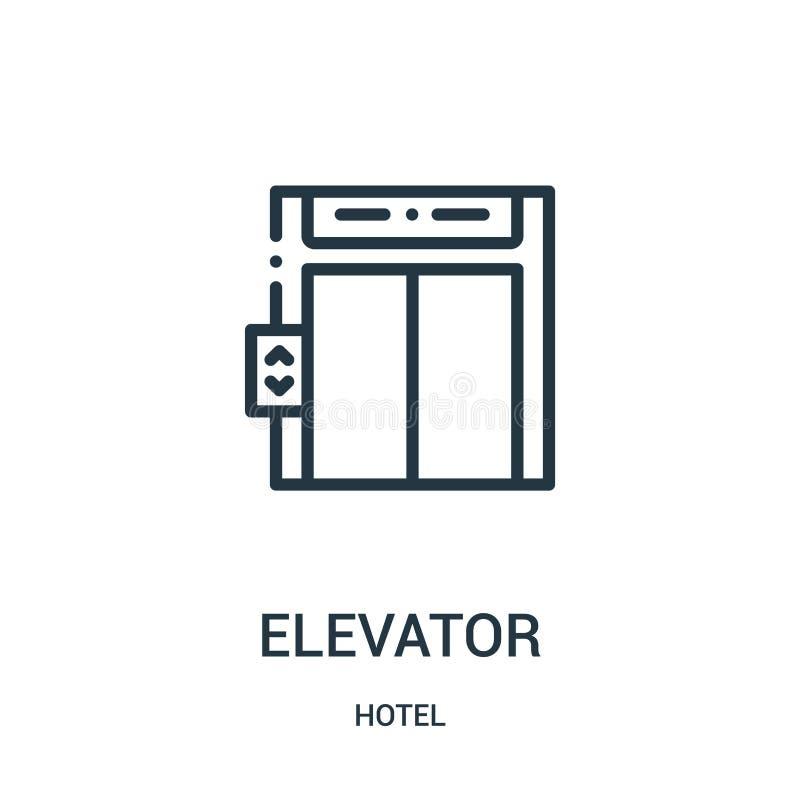 电梯从旅馆汇集的象传染媒介 稀薄的线电梯概述象传染媒介例证 皇族释放例证