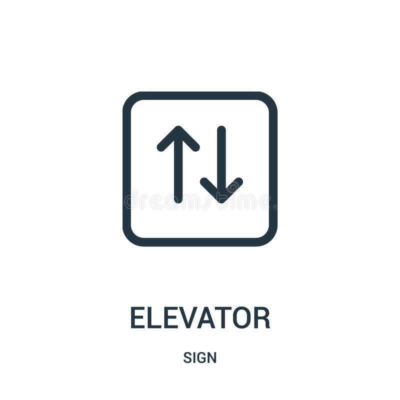 电梯从标志汇集的象传染媒介 稀薄的线电梯概述象传染媒介例证 向量例证