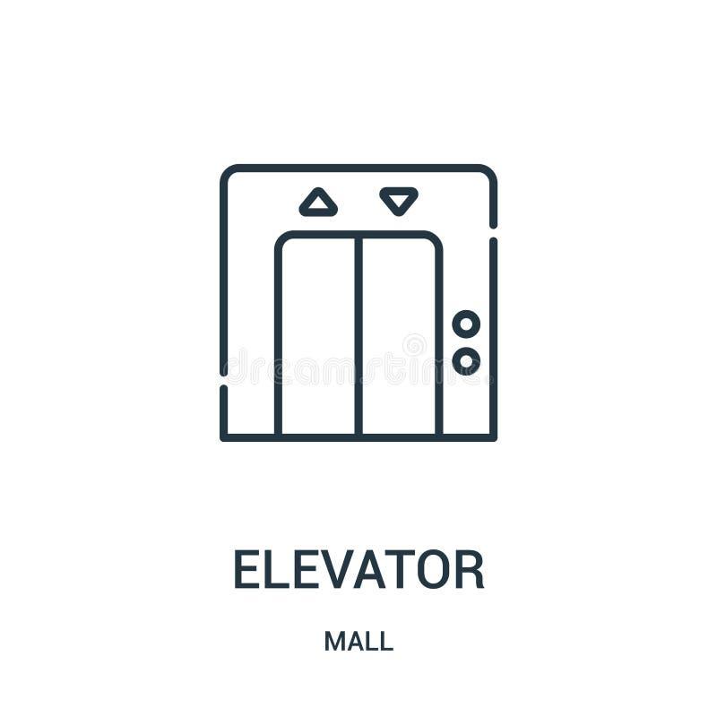 电梯从购物中心汇集的象传染媒介 稀薄的线电梯概述象传染媒介例证 线性标志为在网的使用和 皇族释放例证