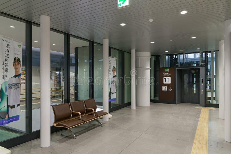 电梯和等待的空间在申英澈函馆Hokuto驻地 免版税库存图片