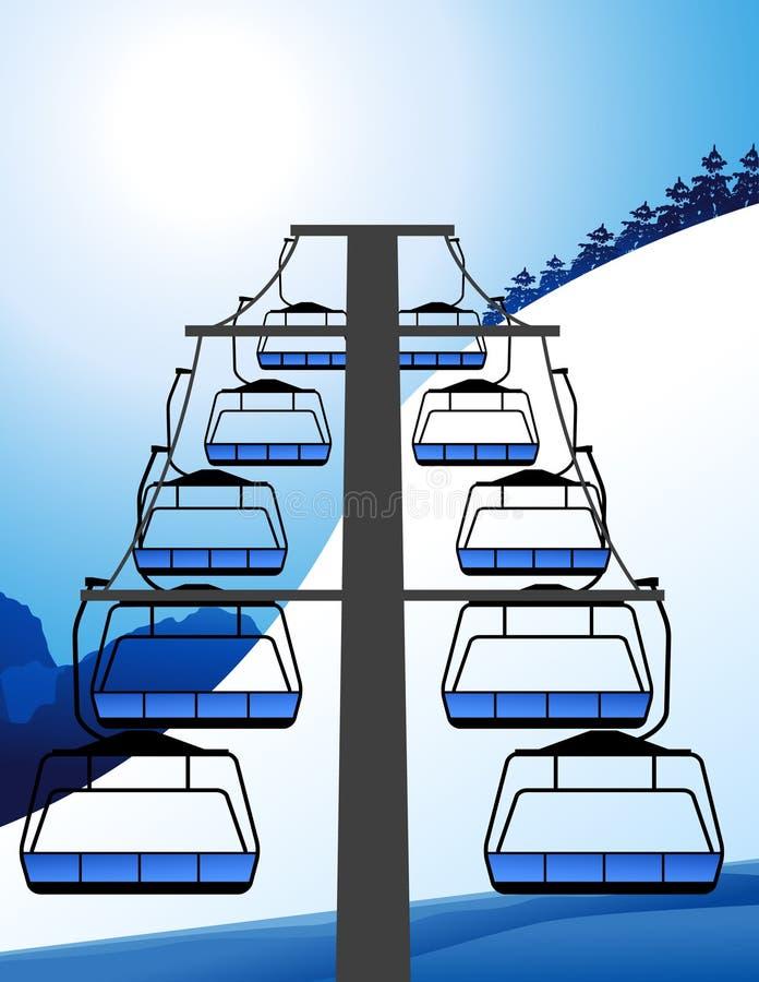 电梯滑雪 库存例证