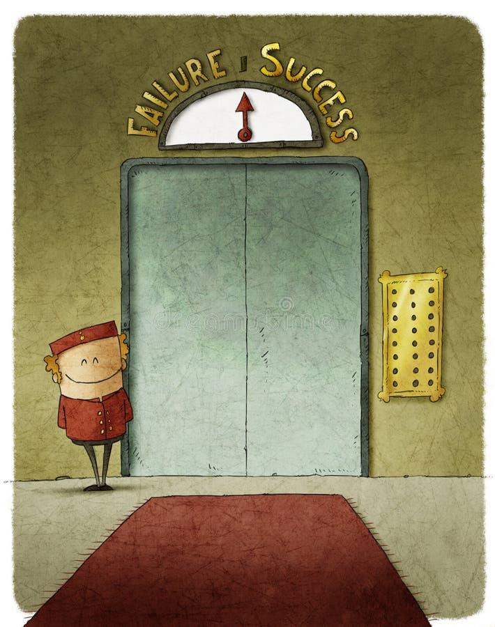电梯的男电梯操作员 库存例证