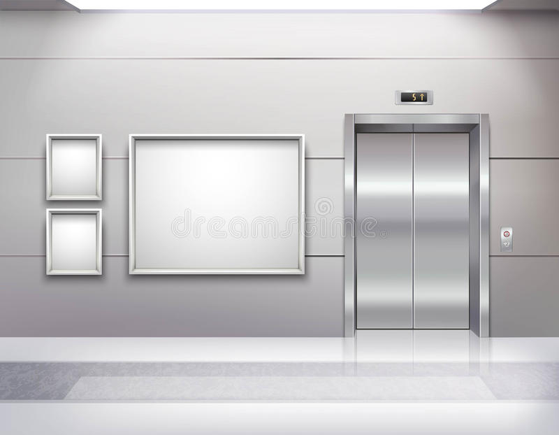 电梯霍尔内部 皇族释放例证