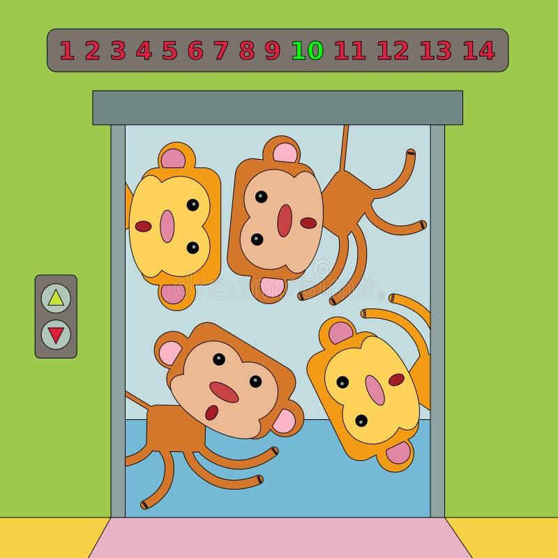 电梯猴子 向量例证
