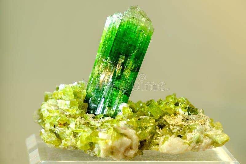 电气石绿色矿物 库存图片
