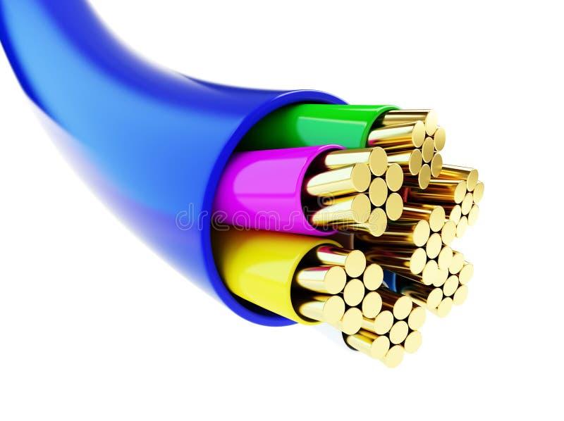 电汇,架线,架线3d例证 向量例证