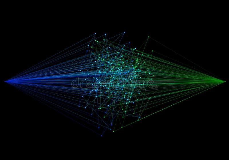 电汇 蓝色和绿色数字资料计算机网络 摘要 库存例证