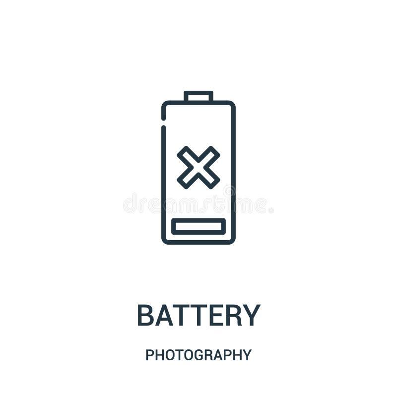 电池从摄影汇集的象传染媒介 稀薄的线电池概述象传染媒介例证 向量例证