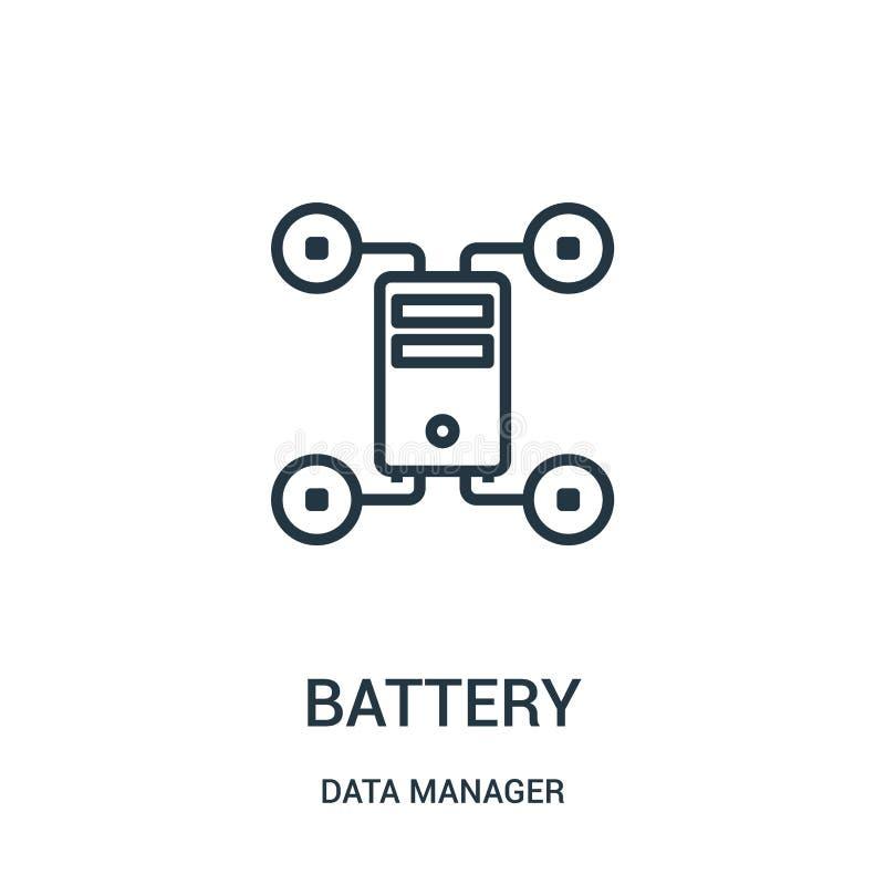 电池从数据经理汇集的象传染媒介 稀薄的线电池概述象传染媒介例证 r 向量例证