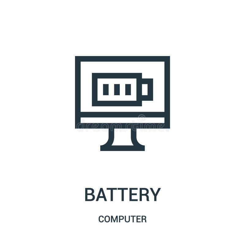 电池从计算机汇集的象传染媒介 稀薄的线电池概述象传染媒介例证 向量例证