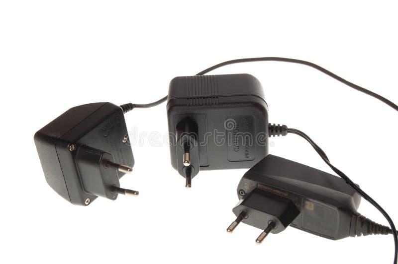 电池充电器电话 库存照片